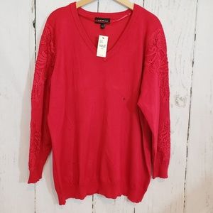 Lane Bryant NWT 18/20 Red Vneck w/ Lace sleeves